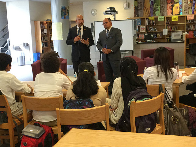 Bronx Borough President Ruben Diaz Jr. (L) and CEO, Big Brothers Big Sisters of NYC, Hector Batista (R) discussed their careers, leadership and the importance of positive role models during a visit to IN-Tech Academy (M.S./H.S. 368) in Marble Hill.