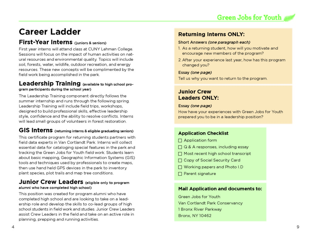 the bronx chroniclesummer job opportunity for hs teens van youth 2015 web page 3 green jobs for youth 2015 web page 4