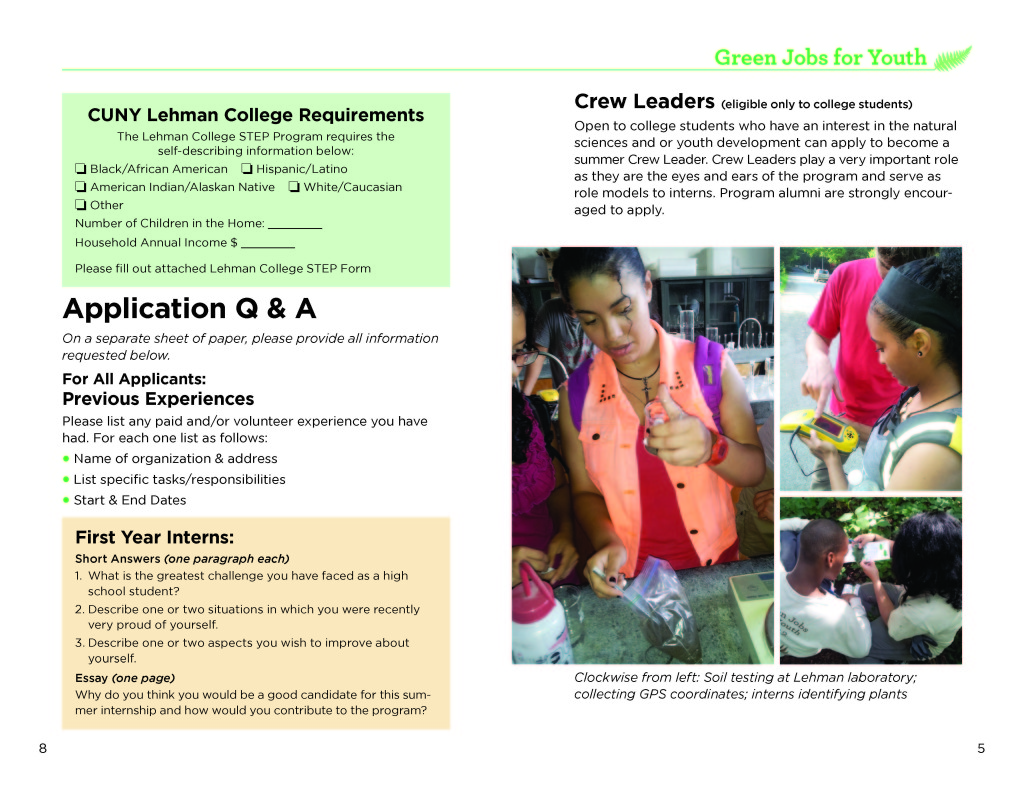 the bronx chroniclesummer job opportunity for hs teens van youth 2015 web page 4 green jobs for youth 2015 web page 5