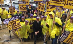 Congressman José E. Serrano stands in solidarity with members of 32BJ SEIU at a rally outside Bronx Borough Hall to demand fair wages and work benefits. (03/11/2015)