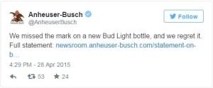 Anheuser Busch Tweet