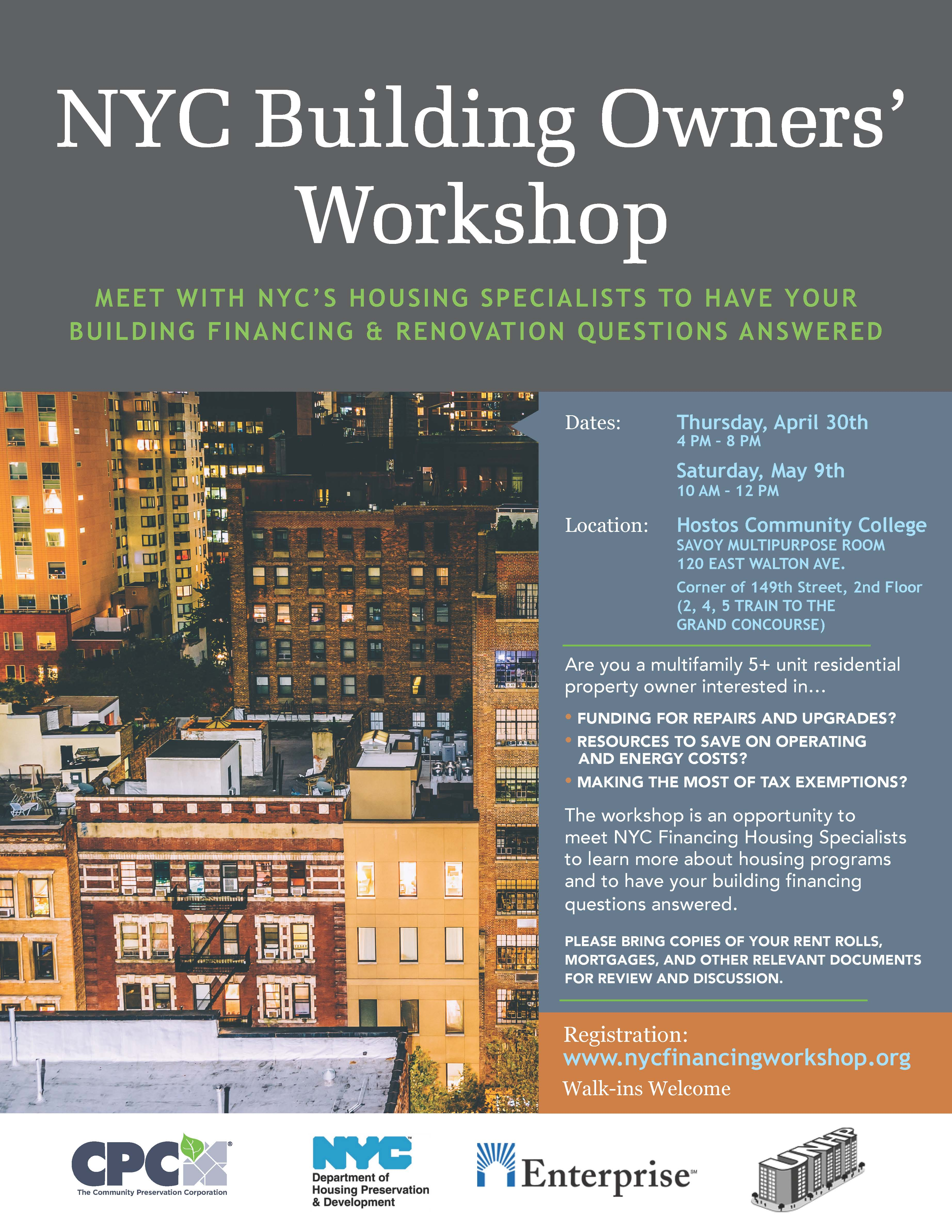 The NYC Building Owners Financing Workshop