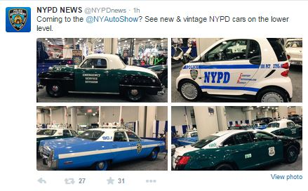 NYPD at the New York Auto Show, April 3 - April 12.