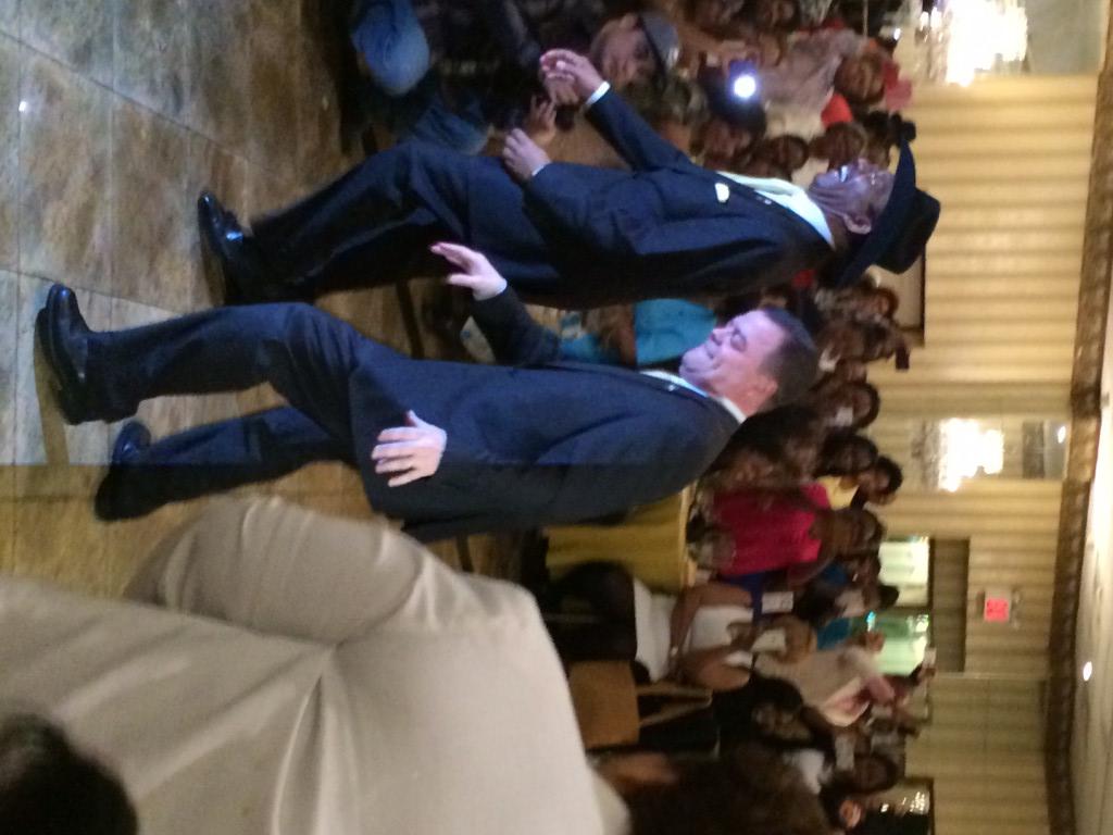 Senator Ruben Diaz and Assemblyman Luis Sepulveda dancing