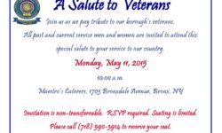 2015 Bronx Week Veteran Appreciation Breakfast–Monday, MAY 11
