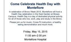 Monterfiore Health Day during Bronx Week – May 15th