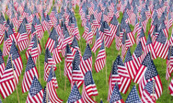 Memorial Day Flagging. Courtesy Woodlawn Cemetery.