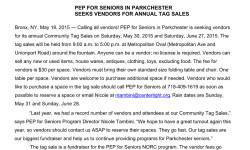Community Tag Sale by Parkchester Enhancement Program for Seniors Seeking Vendors