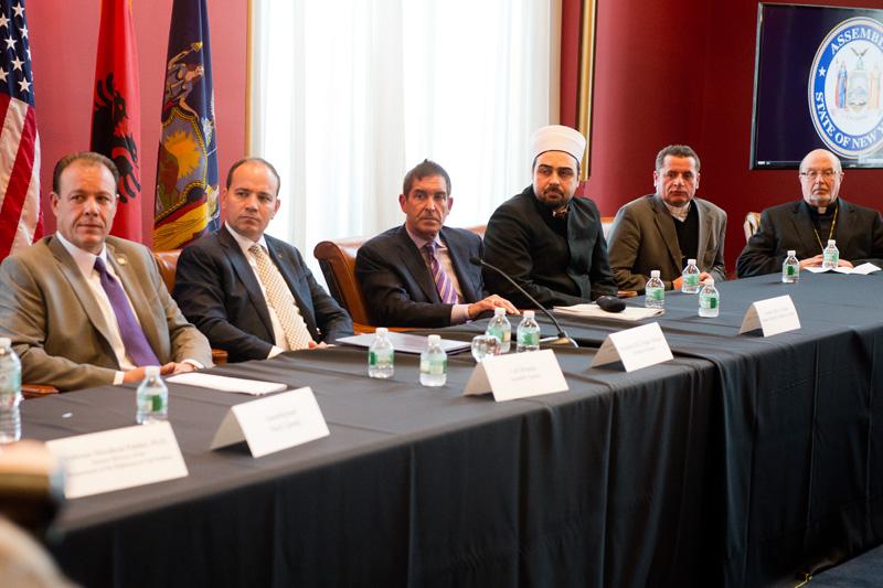 From left to right: Assemblyman Gjonaj, President H.E. Bujar Nishani, Senator Klein,