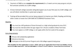 Grace Outreach – College Prep opportunity for women ages 16-24 Summer 2015