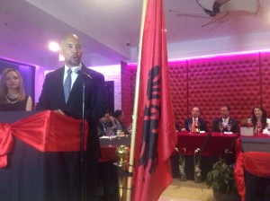 Bronx Borough President Ruben Diaz Jr. praising Assemblyman Gjonaj and the Albanian Community