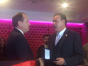 Assemblyman Mark Gjonaj being presented with with the National Honor medal from President Nishani