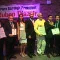 Borough President Ruben Diaz Jr. with the 2015  Honorees Dr. Douglas Reich, Councilman Danny Dromm, Vanessa Victoria, Eric Soto, Cesar Sanchez, Damon Jacobs