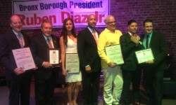 Borough President Ruben Diaz Jr. with the 2015  Honorees Dr. Douglas Reich, Councilman Danny Dromm, Vanessa Victoria, Eric Soto, Cesar Sanchez, Damon Jacobs