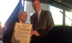Sigmund Rolat. Holocaust Survivor and Philanthropist receiving Proclamation from Mayor Bill de Blasio