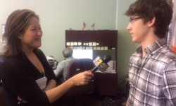 Jon-Michael Provetto being interviewed by Channel 2 Anchor Cindy Hsu today. It will be on channel 2 news at 5 PM today.""