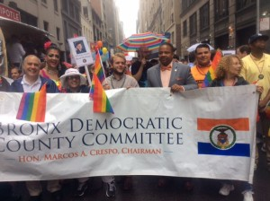 Comptroller Tom DiNapoli: Brogan McGowan, Intern to Assemblyman Mike Blake; NYS Senator Jesse Hamilton 111; Anthony Perez, Executive Director of BDCC; Myra Joyce marching to celebrate equality