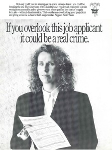 An old poster about discrimination against job applicants.
