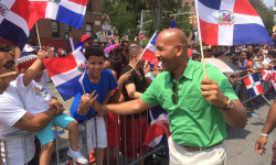 Bronx Borough President Ruben Diaz Jr. greets his constituents along the Grand Concourse during the 26th Annual Gran Parada Dominicana de El Bronx (Bronx Dominican Day Parade) on Sunday, July 26, 2015.