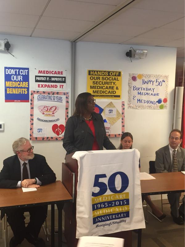"""""""Today we celebrate 50 years of Medicare and Medicaid, and continue the fight to expand healthcare for all!"""" Credi: OPA"""
