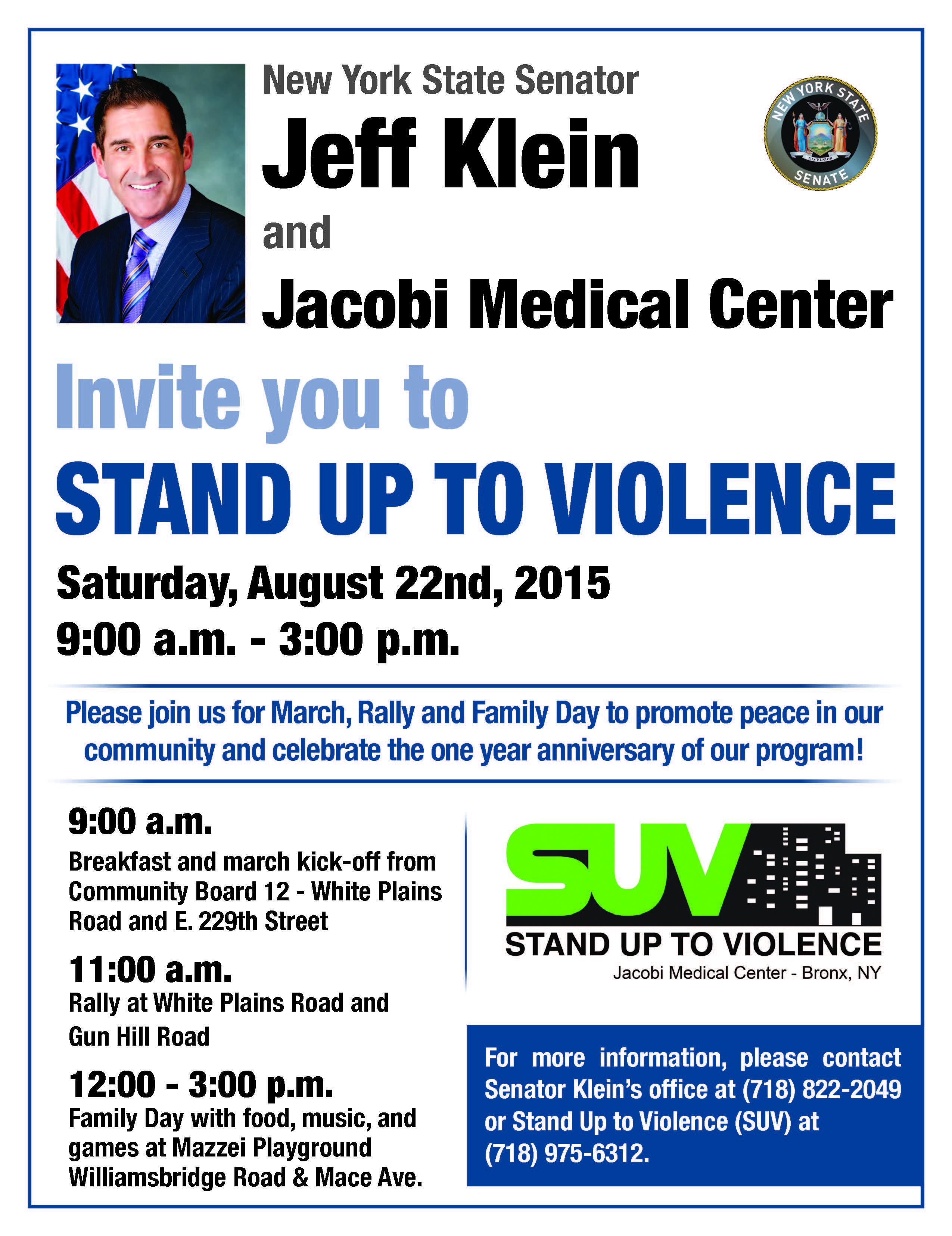 Senator Klein & Jacobi Medical Center –  Stand Up To Violence August 22nd