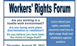 Workers' Rights Forum Hosted by State Senator Gustavo Rivera, Assemblymember Victor Pichardo and Laundry Workers Center on August 20, 2015 at the church of St. Simon Stock