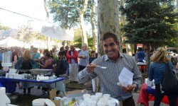 Senator Jeff Klein samples some New England Clam Chowder at City Island's annual Clam Chowder Festival.