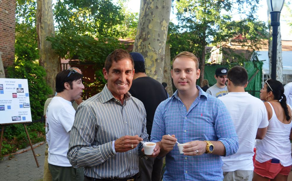 Senator Klein and Chef Eric Mauro of Bistro Rollin in Pelham, NY sample chowder at City Island's annual Clam Chowder Festival.