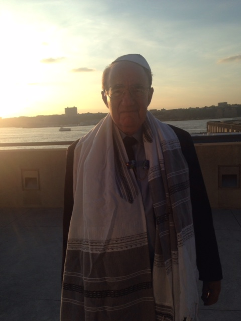 Standing on terrace at Javits overlooking the Hudson Rosh Hahanah 2014