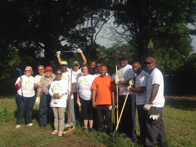 Residents of The Pelham Grand, staff and NYC Department of Parks and Recreation and City Parks Foundation team up to clean greenway across from the Pelham Grand to Burr.  Back Row: Eddie, Frank, Rafael, Jonathan, Terrence, Mondo, Kermit, Dwight Front Row: Jill, Lewis, Eurenia, Christine and Thomas