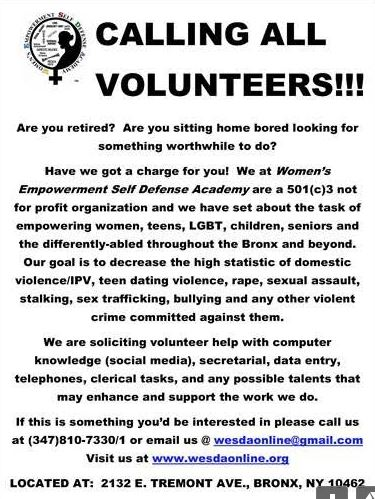 Womens Empowerment Self Defense Academy_Volunteers Wanted