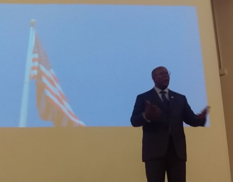 Amb Ron Kirk_Mercy College_US Flag