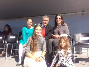 Grand Marshall Mario Cilento with his wife Andrea and three daughters.