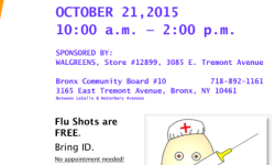 Reminder: Come Get Your Free Flu Shot at Community Board 10 Office Tomorrow (October 21st)