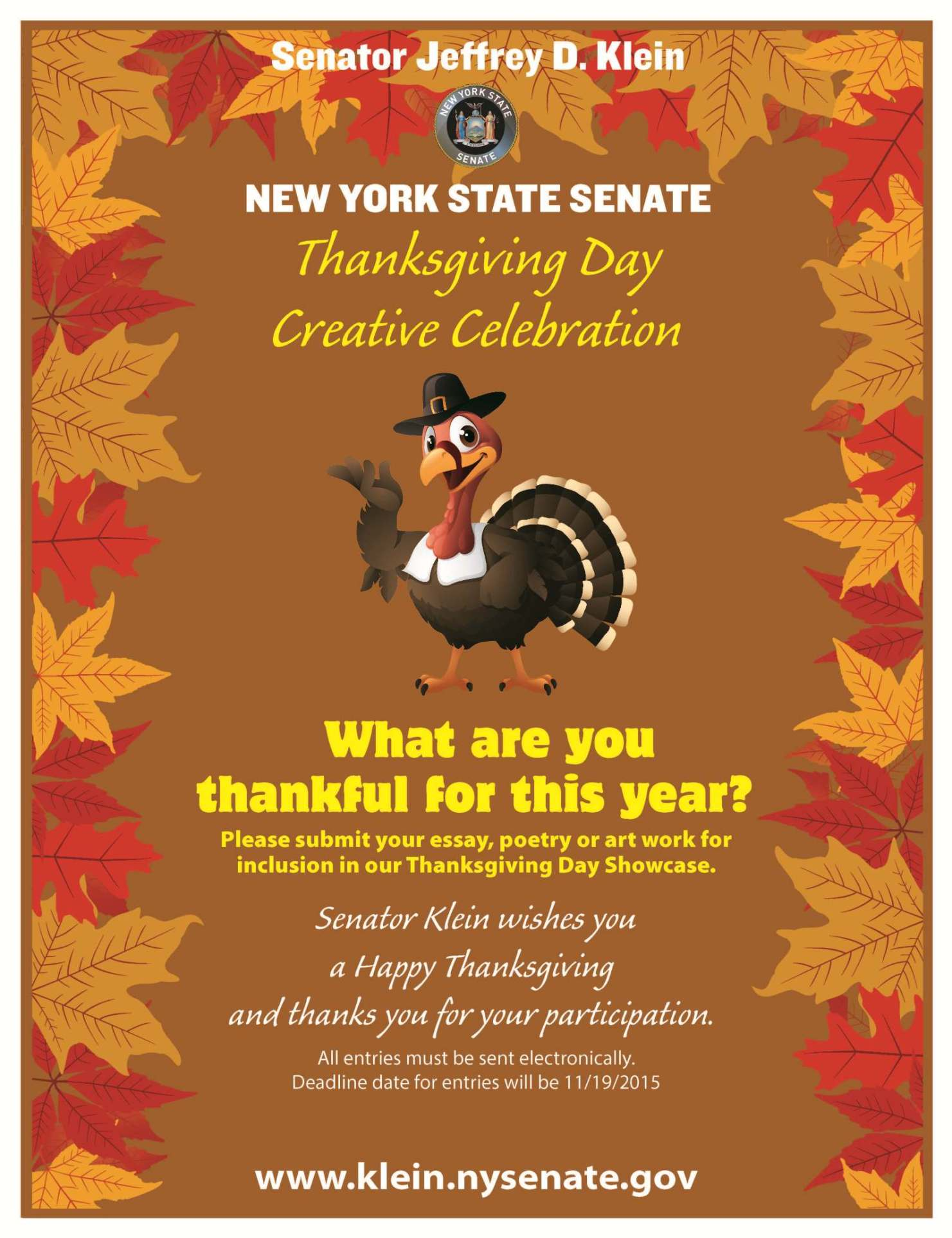 the bronx chroniclesenator klein launches th senate district klein thanksgiving day poster contest