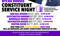 Constituent Service Night at Gun Hill Houses tomorrow
