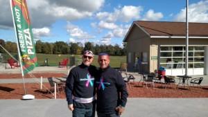 Michael Singer, a breast cancer survivor with John Marano