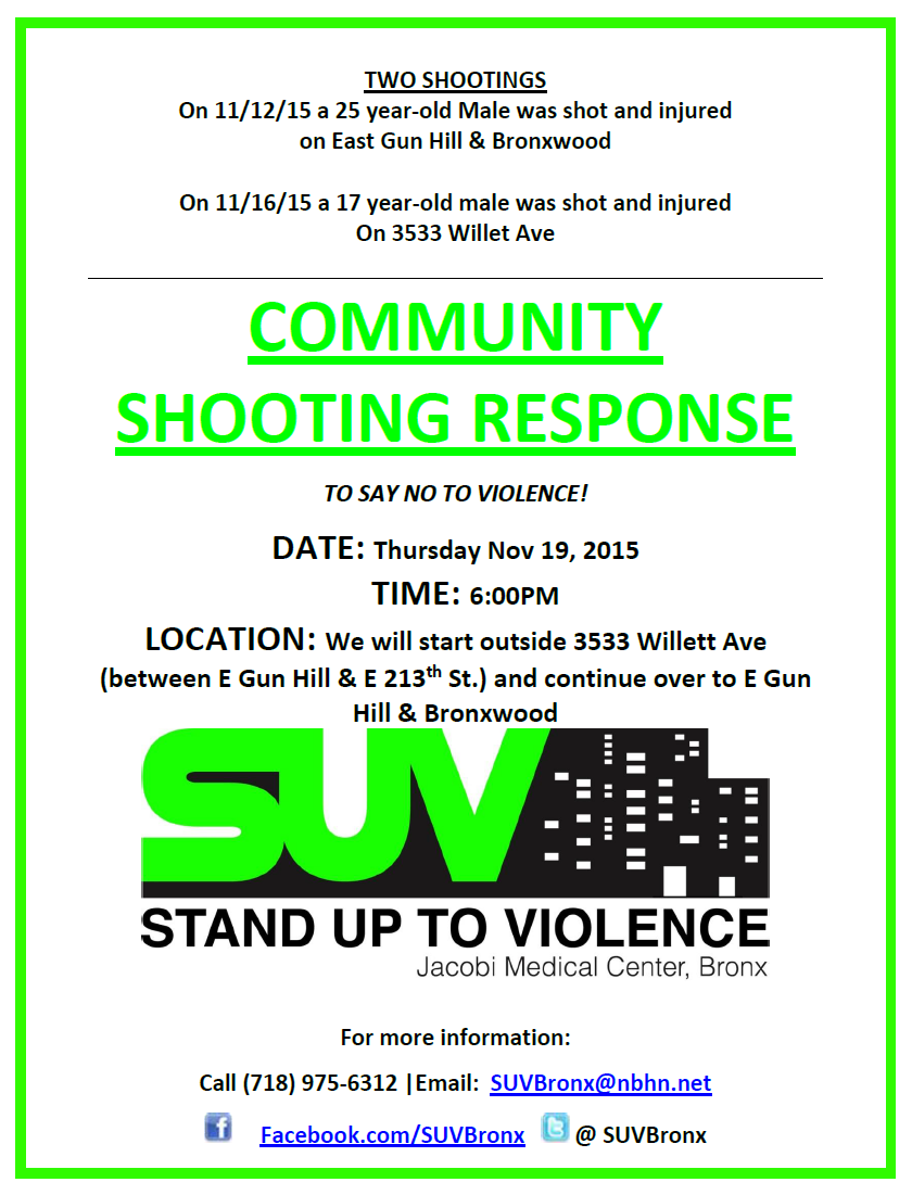 11.19.15 Shooting Resposne Willet Ave. E Gun Hill and Bronxwood