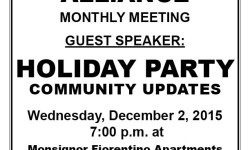 Van Nest Neighborhood Alliance – December Monthly Meeting – 7:00 pm at Monsignor Fiorentino Apts