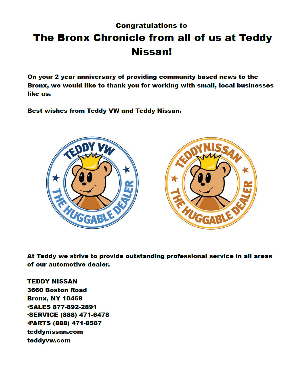Congratulations Teddy Nissan - The Bronx Chronicle