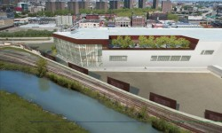 A rendering of the rear of FreshDirect's new 500,000-square-foot Bronx headquarters along the Harlem River Yards.