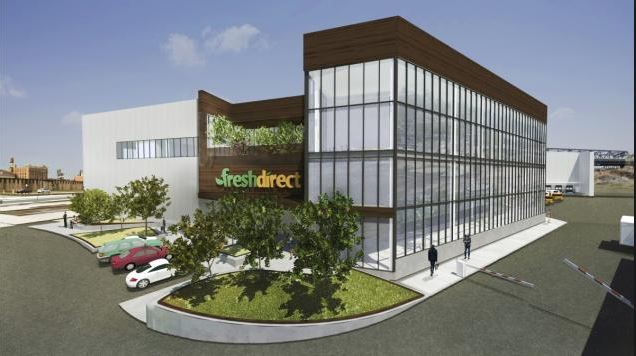 A rendering of FreshDirect's new 500,000-square-foot Bronx headquarters under construction along the Harlem River in the shadow of the RFK-Triboro Bridge. Courtesy FreshDirect
