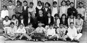 Lyndon B. Johnson with his first pupils at the Welhausen School in Cotulla, Texas