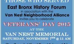 EBHF Sat Nov 7th 11am Veterans Day at Van Nest Memorial ( Mead & Unionport Ave) NOTE: FREE events, St. Paul's National Historic Site