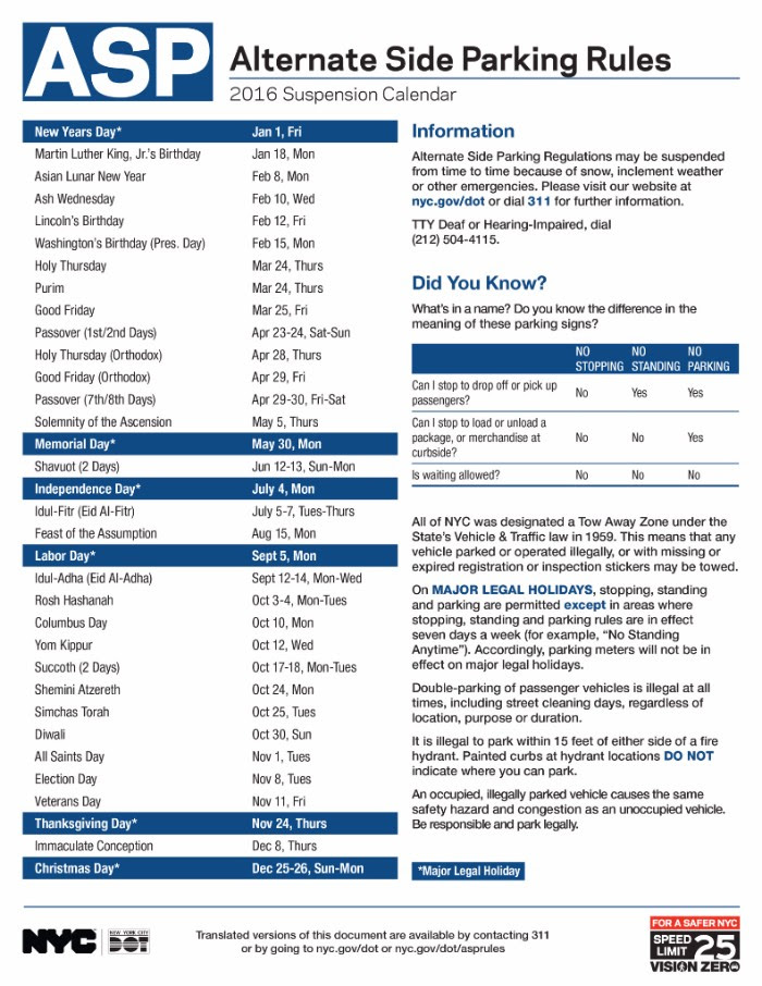 Alternate Side Parking Nyc Calendar 2021 2016 Alternate Side Parking Regulations Calendar | The Bronx Chronicle