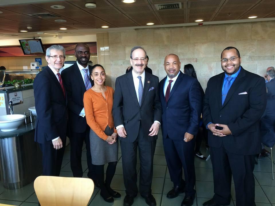 Congressman Eliot Engel at the Israeli Knesset with Rabbi Michael Miller and Bronx Assemblymembers Mike Blake, Latoya Joyner, Speaker Carl Heastie and Victor Pichardo