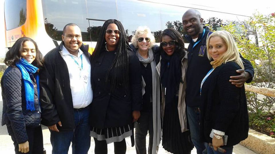 Bronx Assemblymembers Latoya Joyner, Victor Pichardo, Michael Blake with colleagues, Assemblywoman Walker, Assemblywoman Barrett, Assemblywoman Richardson, Assemblyman Blake & Assemblywoman Davila (left to right) at Mount of Beatitudes