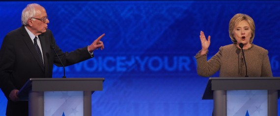 US Democratic presidential hopefuls Bernie Sanders (L) and Hillary Clinton participate in the Democratic Presidential Debate hosted by ABC News at Saint Anselm College in Manchester, New Hampshire, on December 19, 2015. AFP PHOTO/JEWEL SAMAD / AFP / JEWEL SAMAD (Photo credit should read JEWEL SAMAD/AFP/Getty Images)