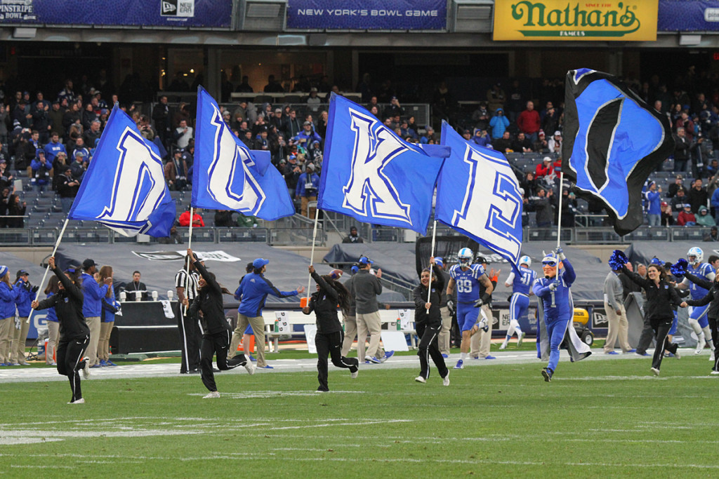 The Duke Blue Devils take the field at Yankees Stadium. Credit: Gary Quintal