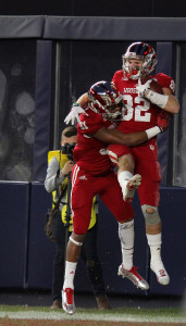 Indiana's Luke Timian (82) celebrates another TD score in the New Era Pinstripe Bowl 2015. -- Gary Quintal, The Bronx Chronicle